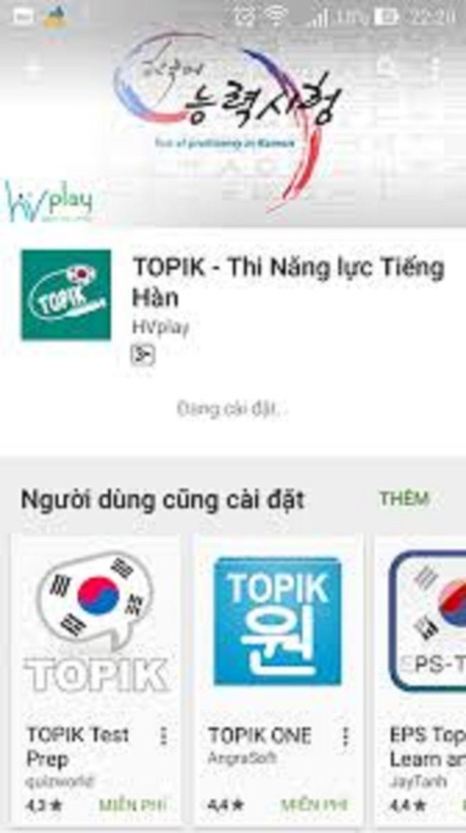Giao diện ứng dụng của một app thi năng lực tiếng Hàn
