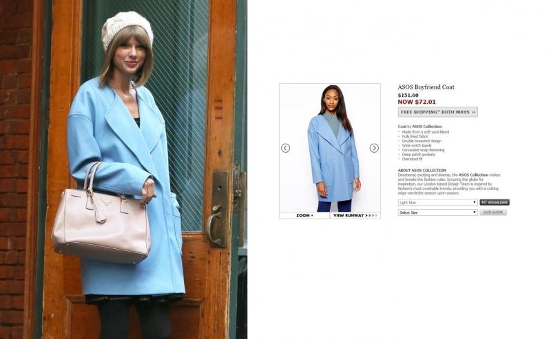 Taylor Swift gây chú ý khi diện chiếc áo khoác oversized màu powder blue của ASOS. Chiếc áo này có giá gốc là 151,6$ (~ 3,2 triệu VNĐ).