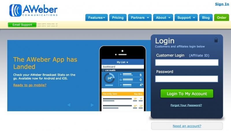 Aweber hỗ trợ trên thiết bị Mobile