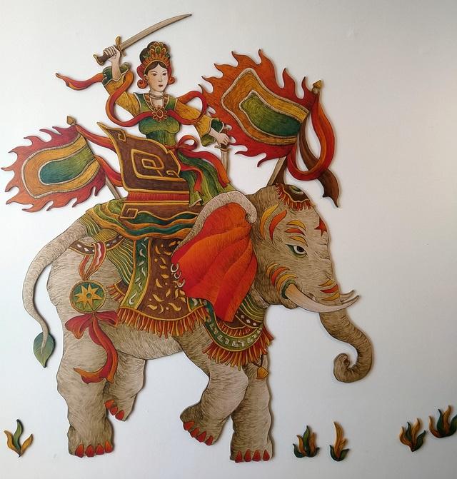 Hình ảnh Bà Triệu cưỡi voi đánh giặc