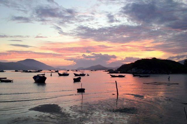 Warm sunset falls on the fishing village