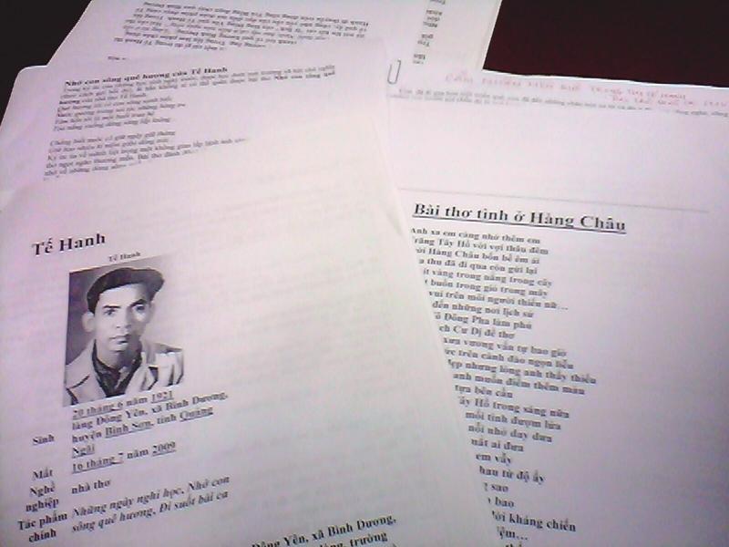 Tế Hanh - Bài thơ tình ở Hàng Châu