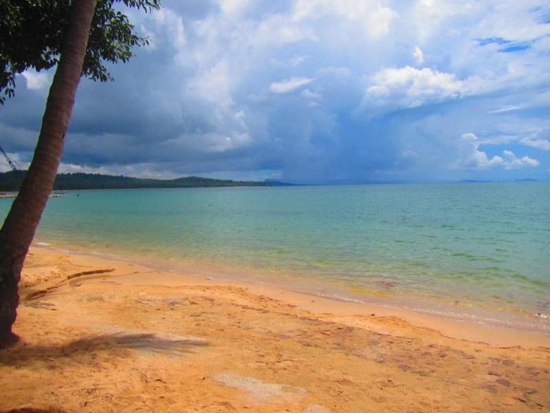 Bãi Vũng Bầu nên thơ với những rặng cây xanh mát, và bãi cát nâu