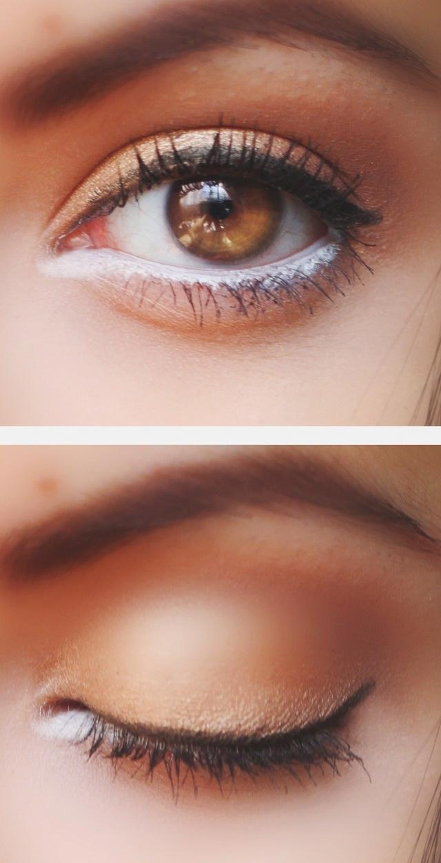 Chỉ cần một xíu phấn trắng ở mí dưới đã tạo nên sự khác biệt rất lớn cho đôi mắt của bạn