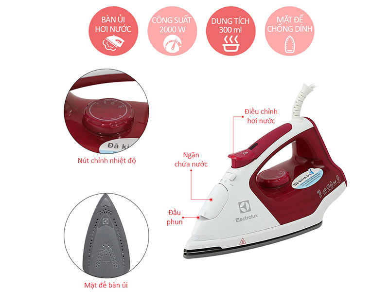 Bàn ủi hơi nước Electrolux ESI-5226 với khả năng phun hơi nước giúp thấm đều, ẩm mềm vải
