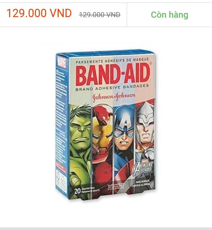 Băng dán cá nhân cho bé Marvel Avengers - 20 miếng