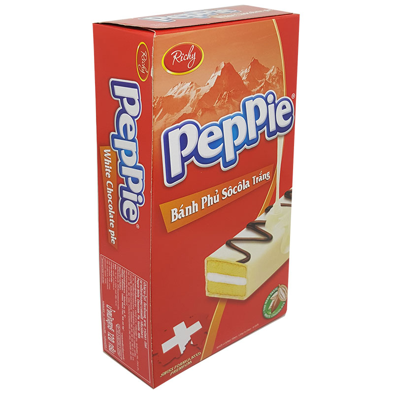 Bánh bông lan phủ sô cô la trắng Peppie