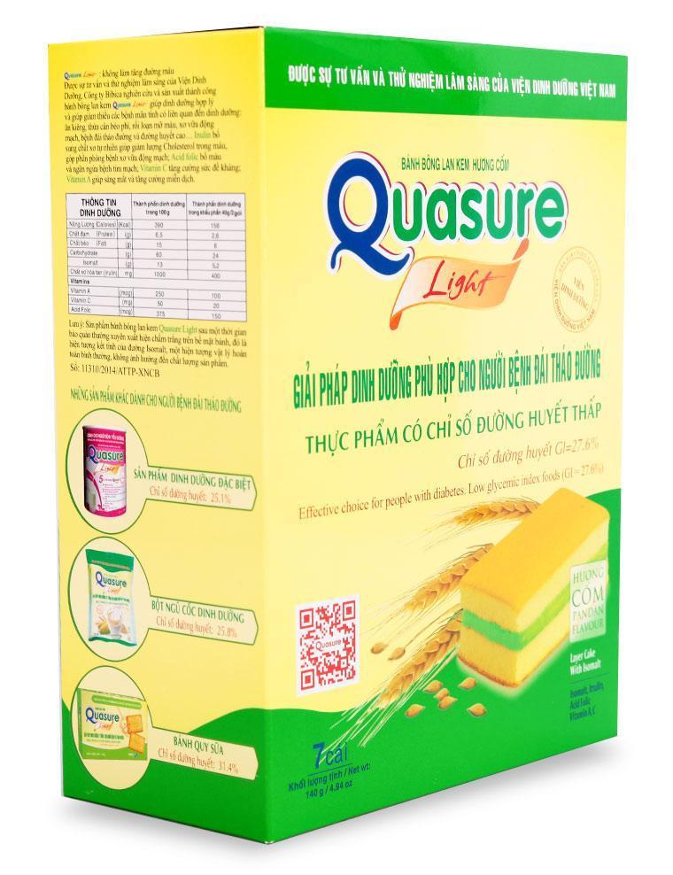 Bánh bông lan Quasure light có chỉ số đường huyết thấp dùng để thay thế các loại bánh kẹo chứa đường.
