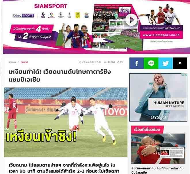 Tờ báo Siam Sport của Thái Lan đưa tin