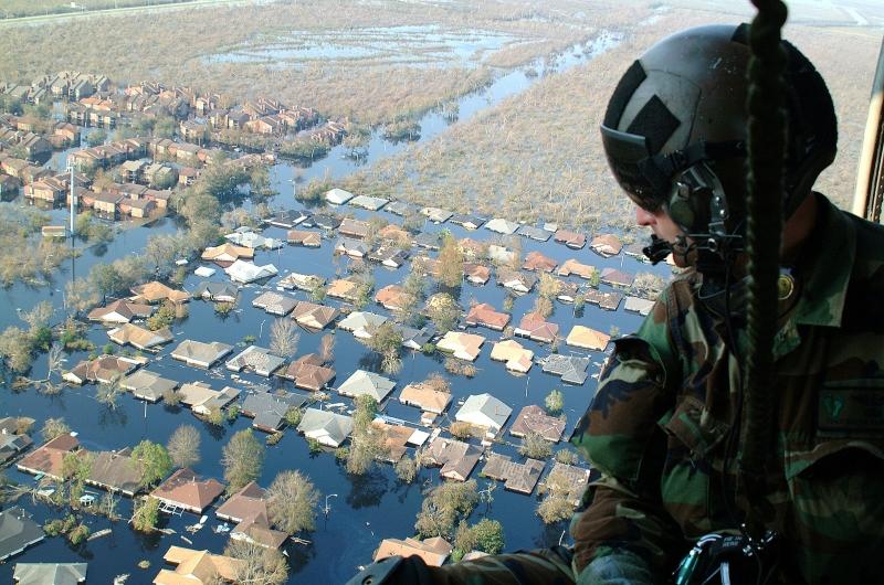 Hình ảnh từ trên cao khi cơn bão Katrina đi qua nước Mỹ.