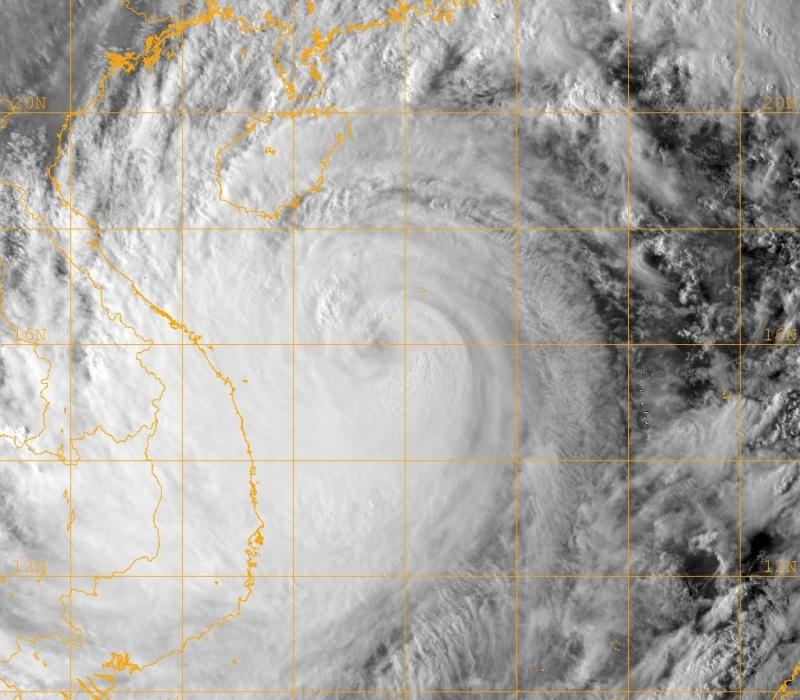 Hình ảnh của bão Ketsana khi đổ bộ vào Việt Nam.