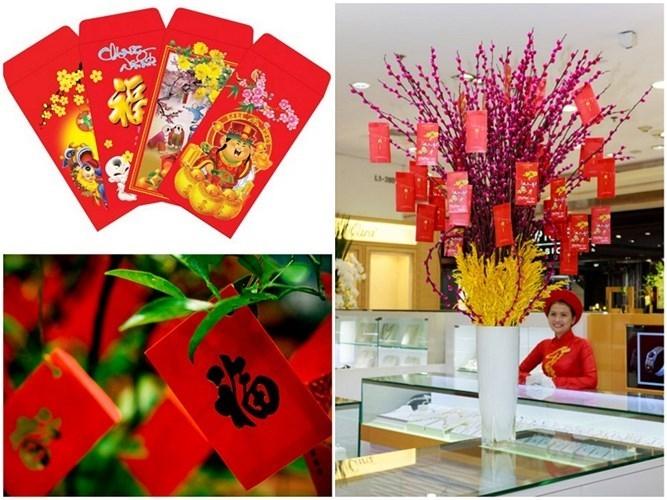 Mang màu sắc đỏ tươi vui, bao lì xì cũng trở thành vật phẩm trang trí nhà dịp Tết lý tưởng.