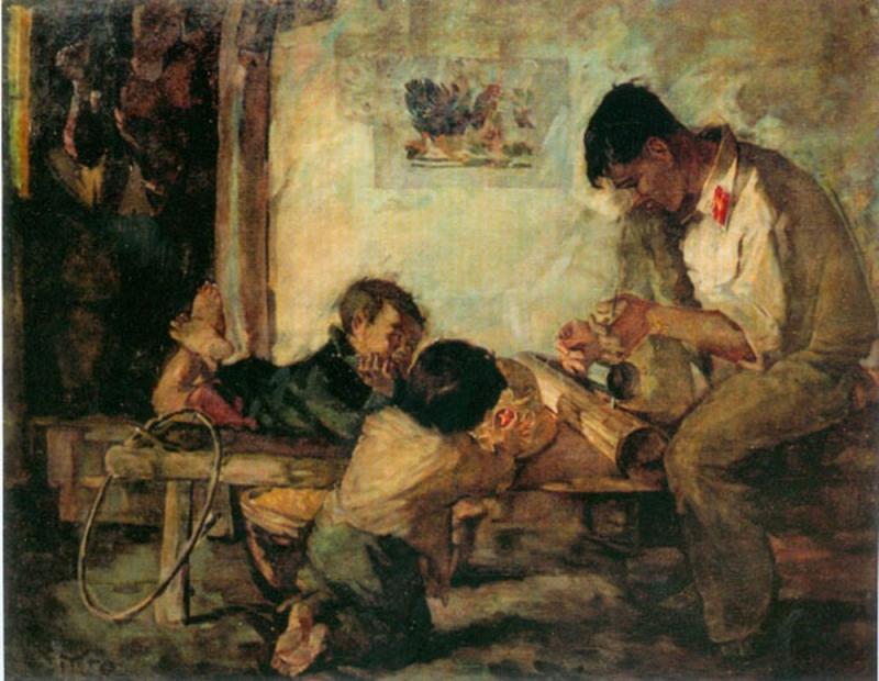 Bức tranh Tiếng Đàn Bầu  của cố họa sĩ Sỹ Tốt