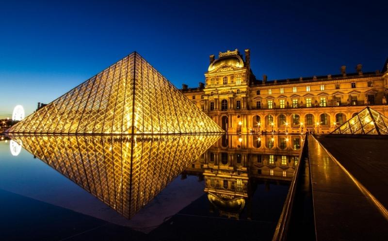 Bảo tàng Lourve về đêm.