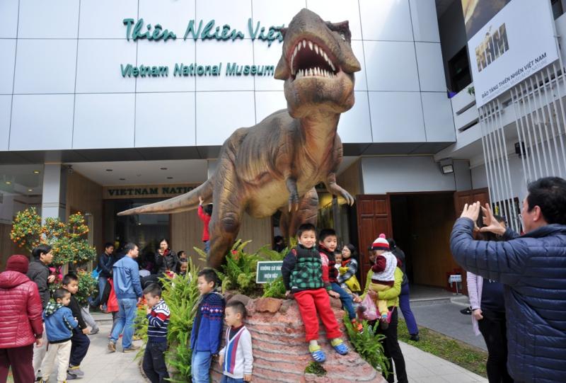 Ngay khi bước chân vào cổng Bảo tàng là mô hình khủng long to lớn và vô cùng sinh động, tạo sự hứng khởi cho bé