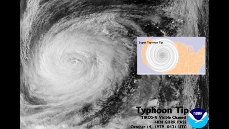 Hình ảnh của cơn bão Tip năm 1979.