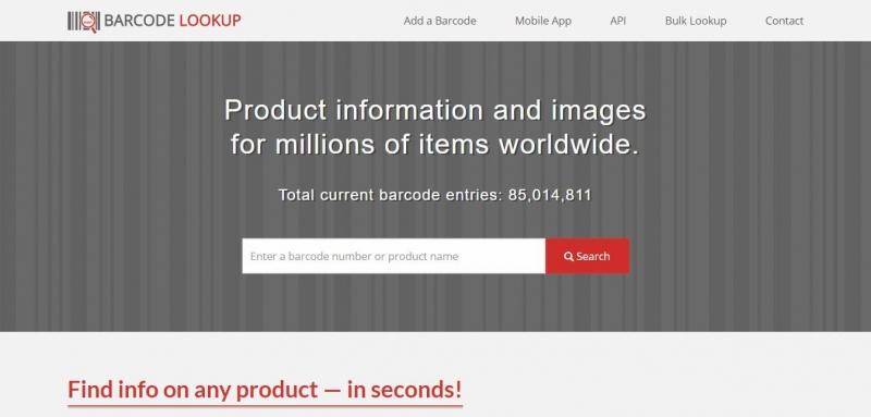 Barcode Lookup dùng dữ liệu từ hơn 1500 nhà bán lẻ và người dùng