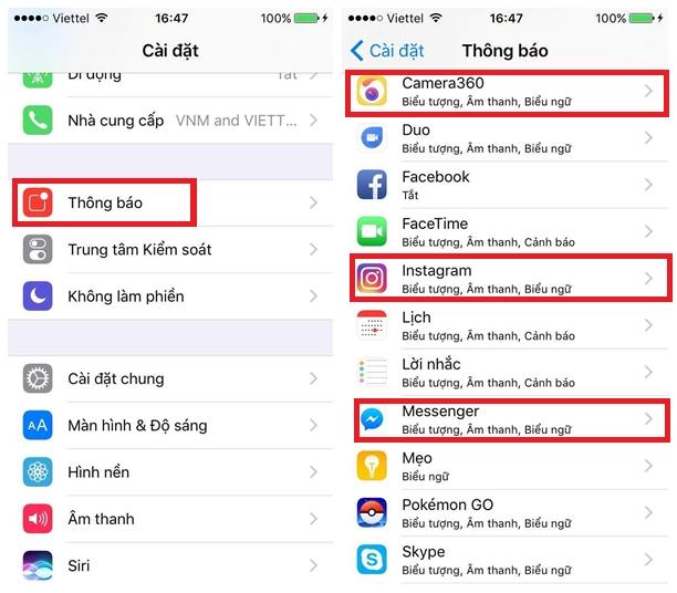 Nên tắt chế độ thông báo của những ứng dụng không cần thiết