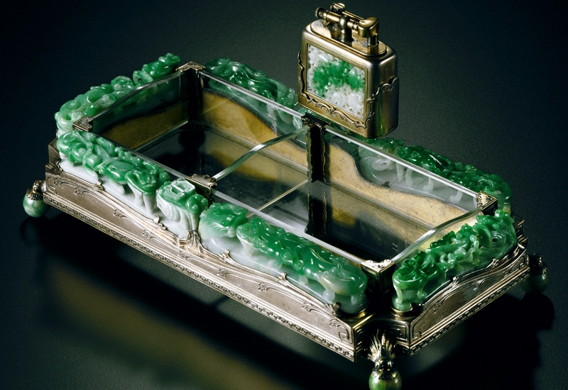 Bật lửa Silver and Jadeite Ashtray and Lighter