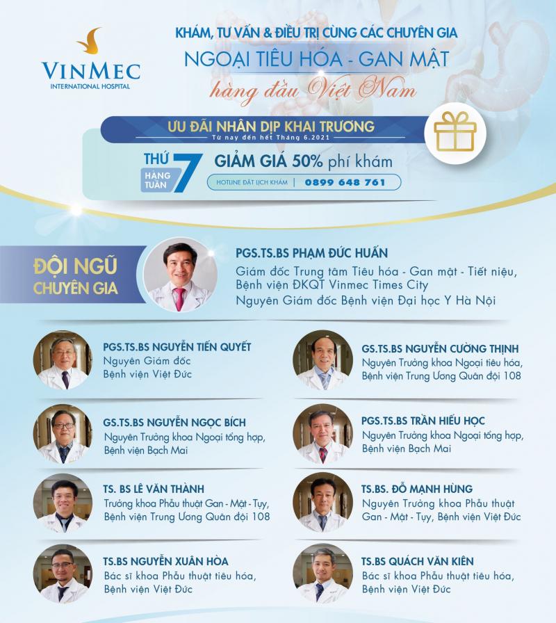 Khám, tư vấn và điều trị cùng các chuyên gia Ngoại tiêu hóa - gan mật hàng đầu Việt Nam