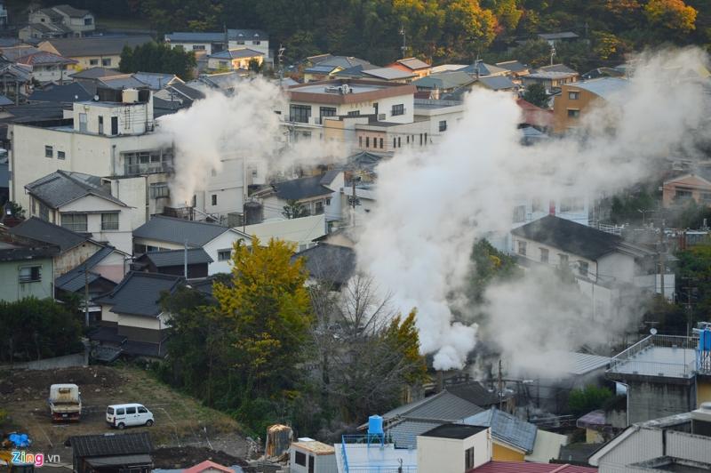 Một góc thành phố Beppu nhìn từ trên cao