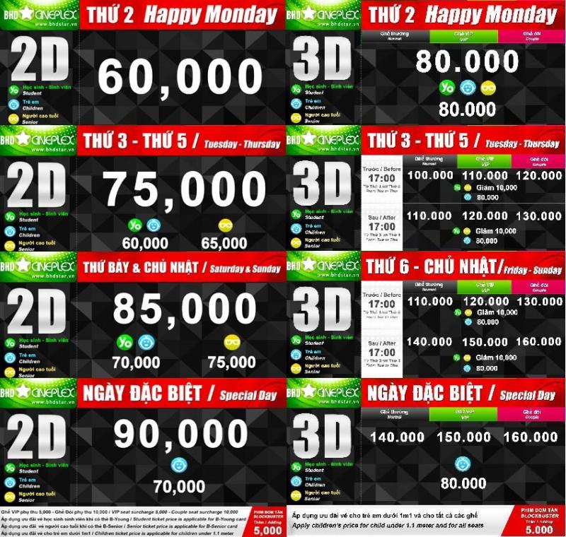 Giá vé tại BHD Star Cineplex