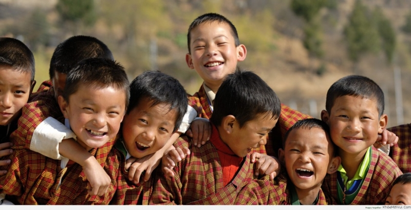 Nụ cười hạnh phúc thường xuyên xuất hiện ở Bhutan.