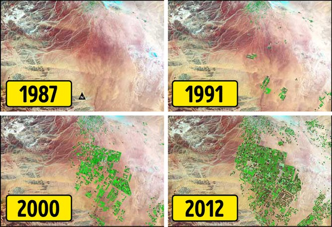 Những bức ảnh này của lưu vực Wadi As-Sirhan ở Ả Rập Xê Út cho thấy sự biến đổi mạnh mẽ của sa mạc hơn 30 năm qua