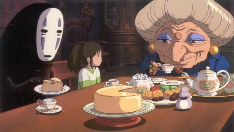 Chihiro cùng các bạn ăn bánh và trò chuyện với Zeniba.