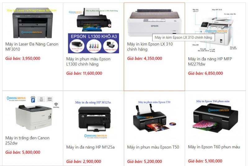 Một số máy in được bày bán tại Bình Dương Computer
