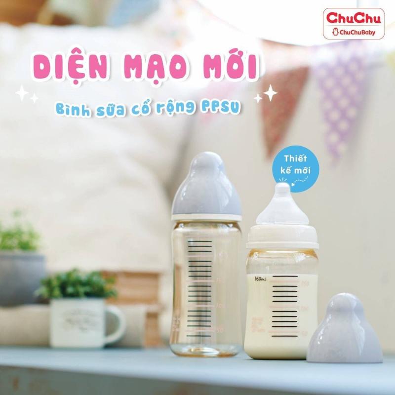 Bình sữa cổ rộng chống sặc PPSU của Chuchubaby