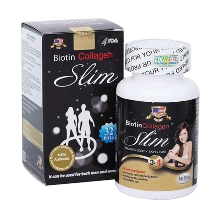 Biotin Collagen Slim - Viên giảm cân hiệu quả bổ sung Collagen làm đẹp da và tóc