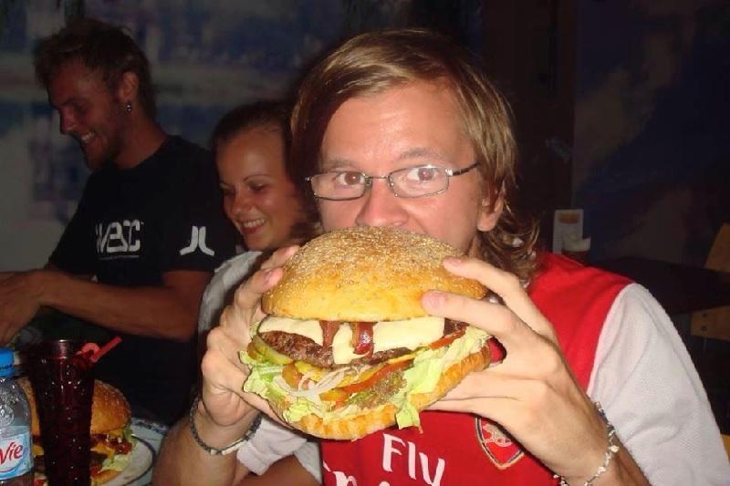 Close-up of Big Cat's Black Hamburger