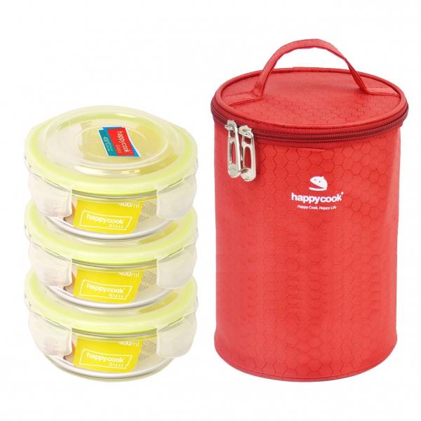 Bộ 3 hộp thủy tinh kèm túi giữ nhiệt Happy Cook Glass HCG-03C