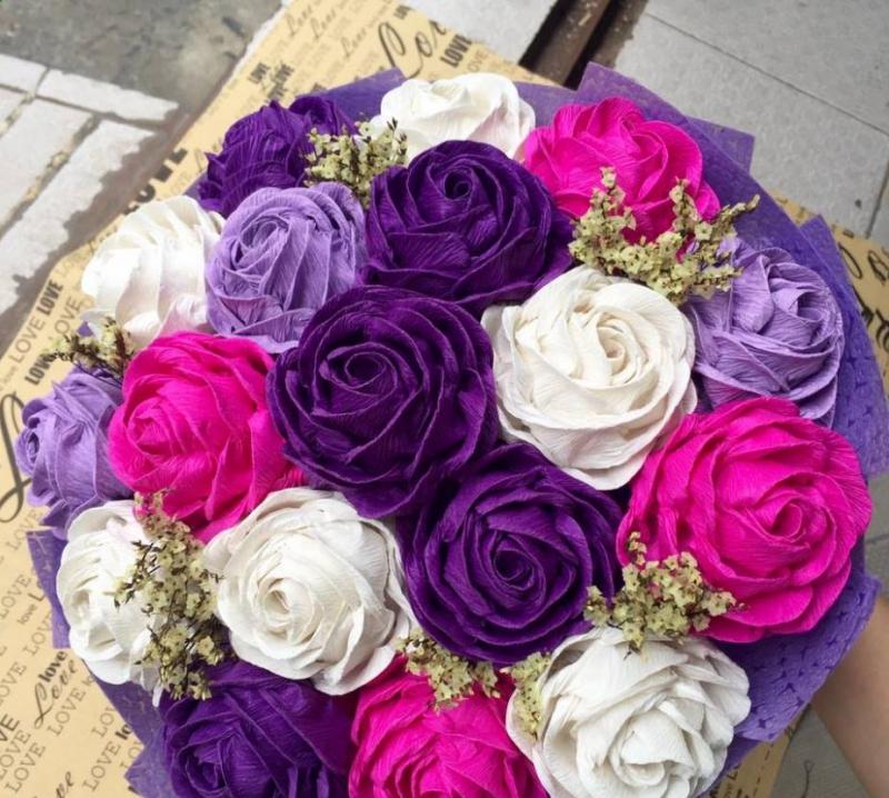 Bó hoa hồng giấy handmade xinh lung linh gửi tặng mẹ