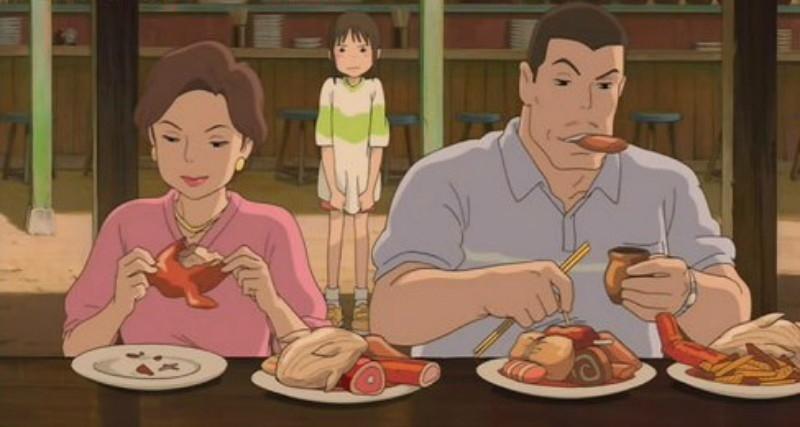 Họ vẫn tiếp tục ăn dù Chihiro phản đối.