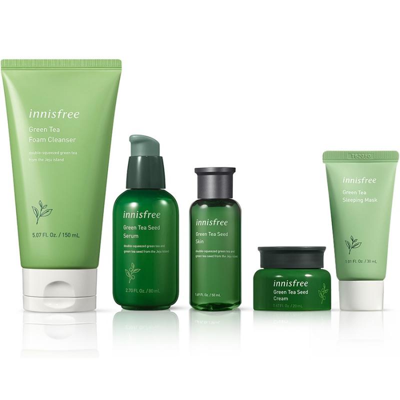 Bộ sản phẩm làm sạch da và dưỡng ẩm innisfree Green Tea Seed Cream Set
