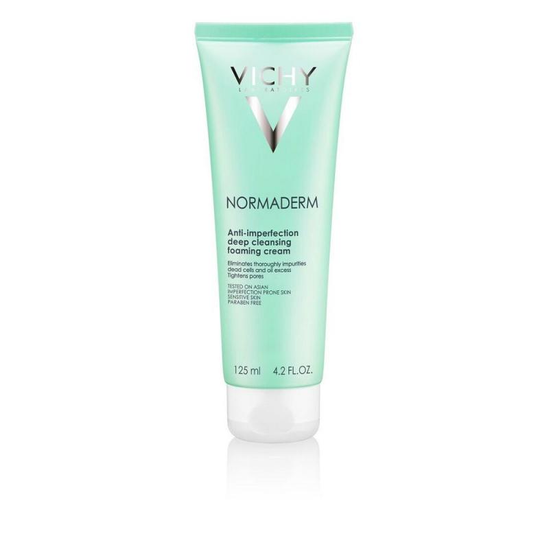 Bộ sản phẩm Sữa rửa mặt dạng kem giúp ngừa mụn & se khít lỗ chân lông Vichy Normaderm Foaming Cream