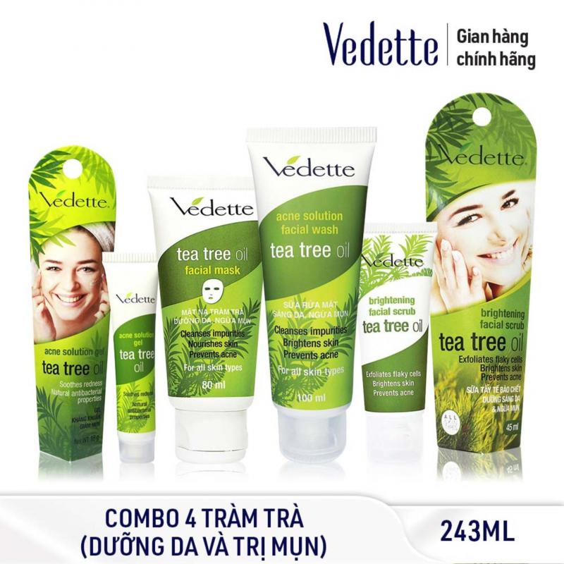 Bộ sản phẩm Tràm Trà Vedette Tea Tree Oil giảm và ngừa mụn hiệu quả
