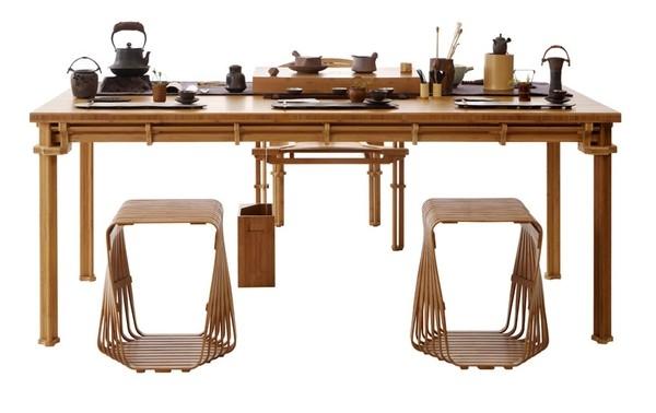 Bộ sưu tập đồ nội thất và tách trà làm từ tre