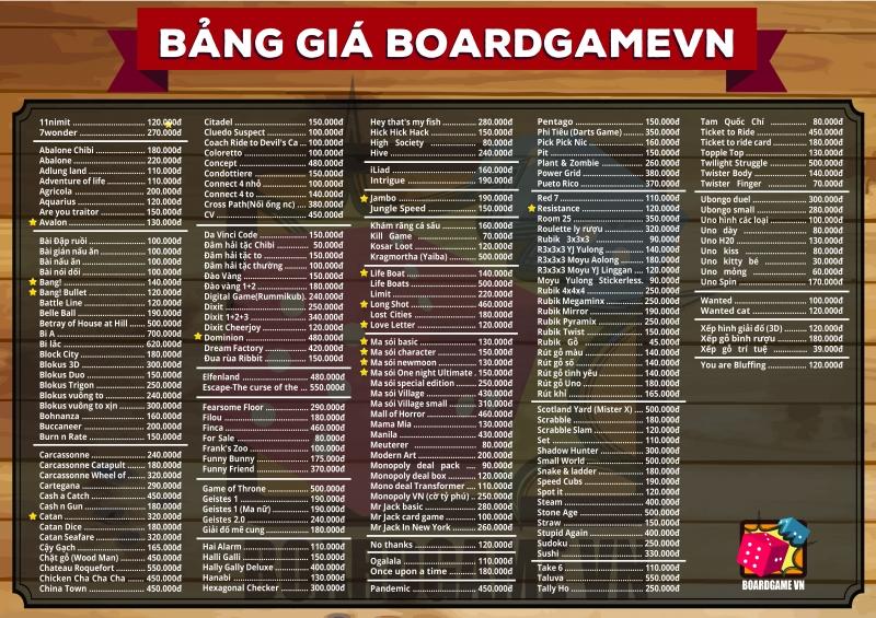 Bảng giá các board game có tại Board Game VN