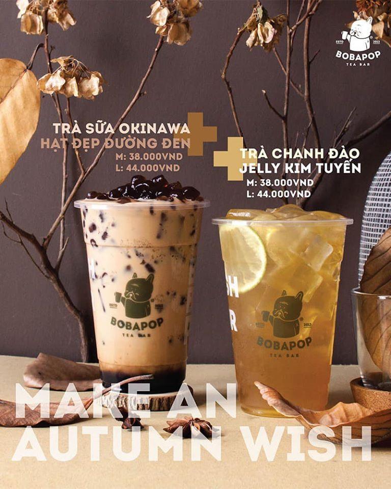 Bobapop có menu đa dạng: trà, trà sữa, sữa tươi, latte,... được pha chế khéo léo