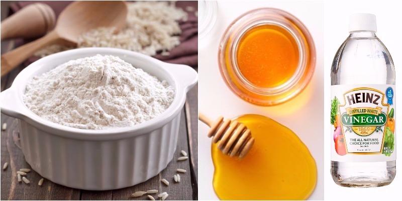 Bột gạo, mật ong và giấm trị nứt nẻ gót chân