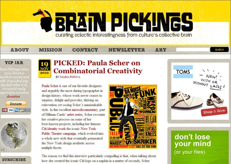 Giao diện của Brain Pickings
