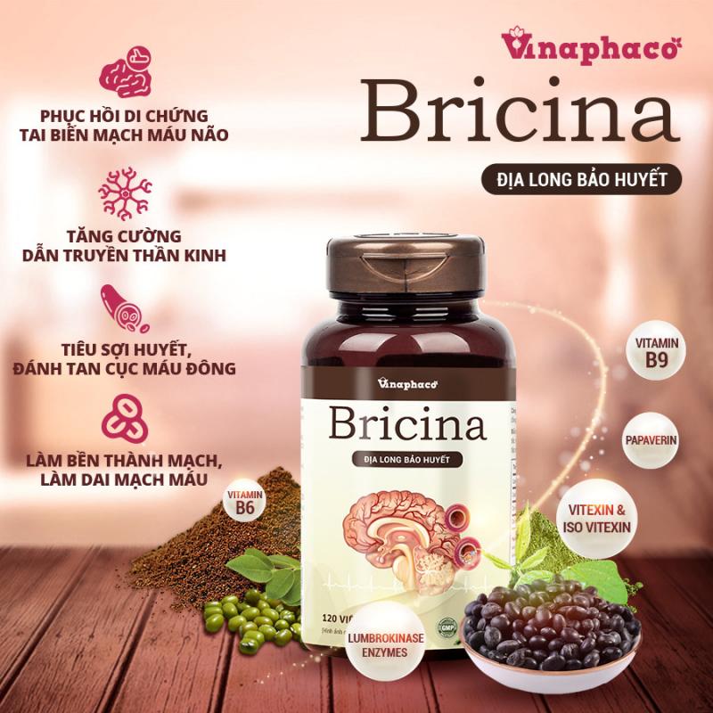 Sản phẩm Bricina (địa long bảo huyết) với các hoạt chất chính được chiết xuất từ thành phần dược liệu có trong sản phẩm. (Enzym Lumbrokinase, Kali, folate và vitamin B6, papaverin, Insulin, Carotenoid và Flavonoid, Arginine…)
