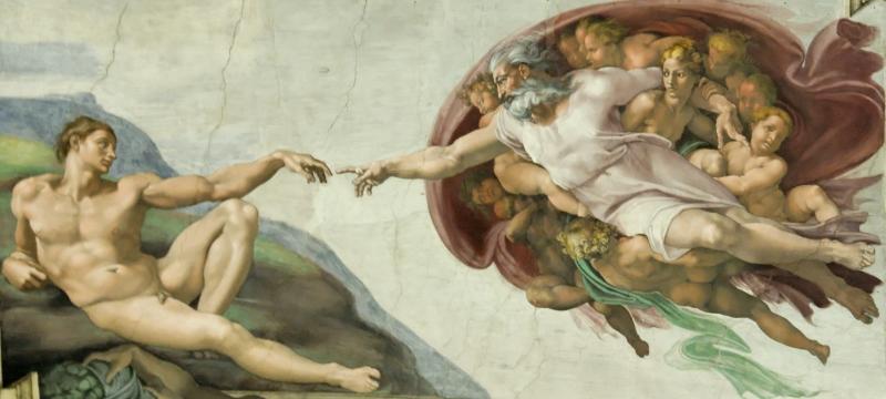 Bức tranh The Creation Of Adam (Sự Sáng Tạo Ra Adam) – Michelangelo