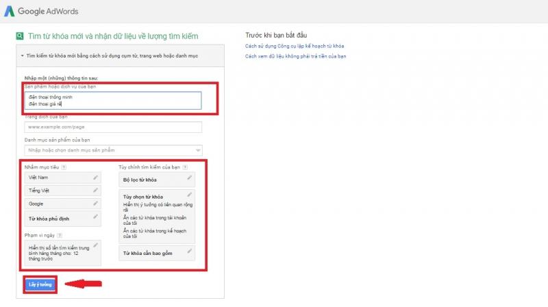 Bước 3: Sử dụng Google Keyword Planner để lấy ý tưởng cho từ khóa của bạn