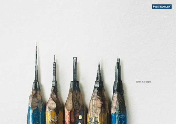 Những công trình kiến trúc nổi tiếng được chạm khắc lên đầu của chiếc bút chì.