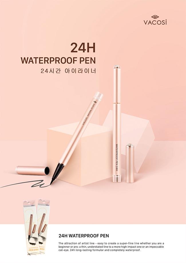 Bút Kẻ Mắt Nước Không Trôi Vacosi Natural Studio Water Proof Pen 24H: