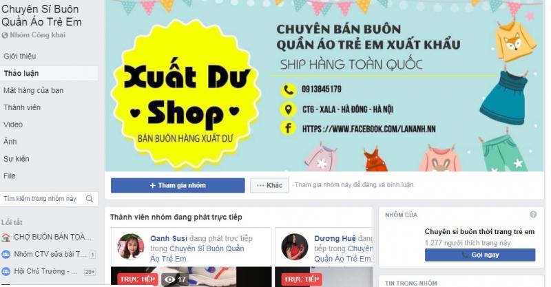 Chuyên sỉ buôn quần áo trẻ em với 622k thành viên là nơi bán hàng hiệu quả